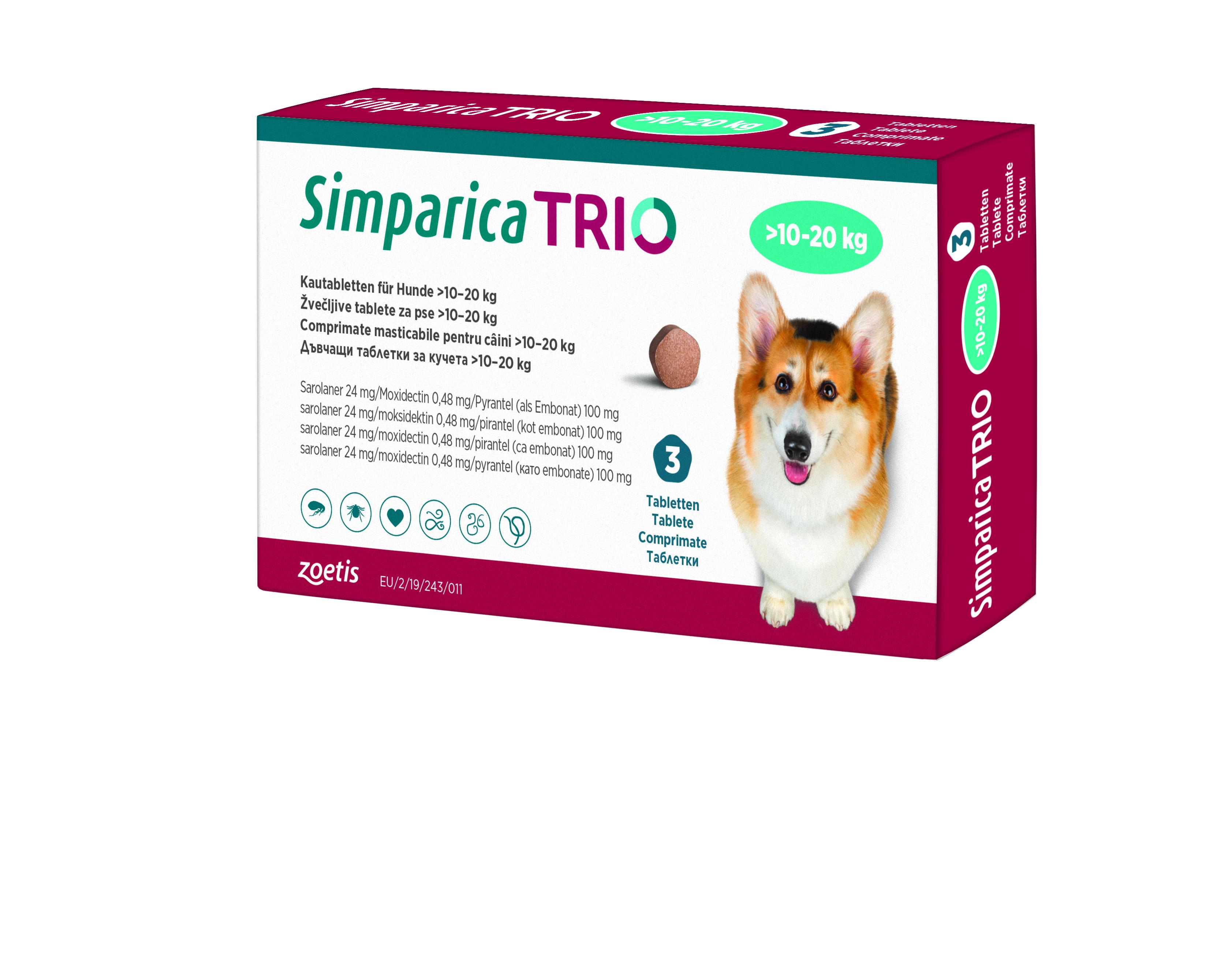 SIMPARICA TRIO 10-20 KG 3 COMP